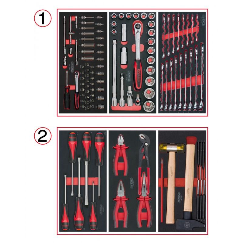 Composition d'outils 2 tiroirs pour servante, 114 pièces KS TOOLS