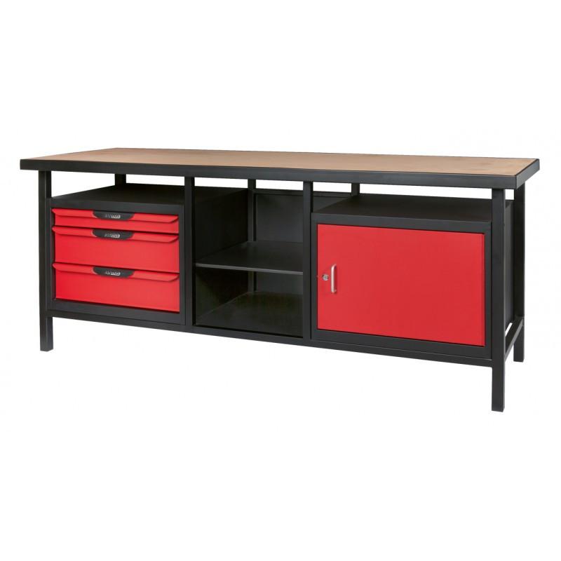 Etabli d'atelier professionnel Extra long 1 porte et 3 tiroirs KS TOOLS