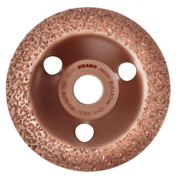 Plateaux à poncer carbure CARBOCUP CONVEXE 125 mm grain 14 SIDAMO