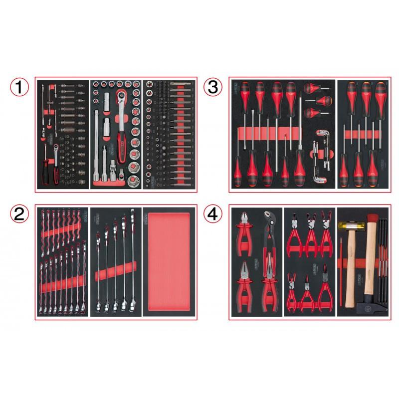 Composition d'outils 4 tiroirs pour servante, 241 pièces KS TOOLS
