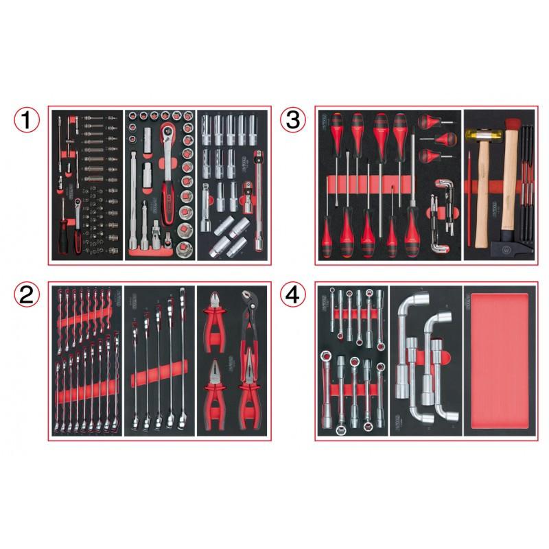 Composition d'outils 4 tiroirs pour servante, 173 pièces KS TOOLS