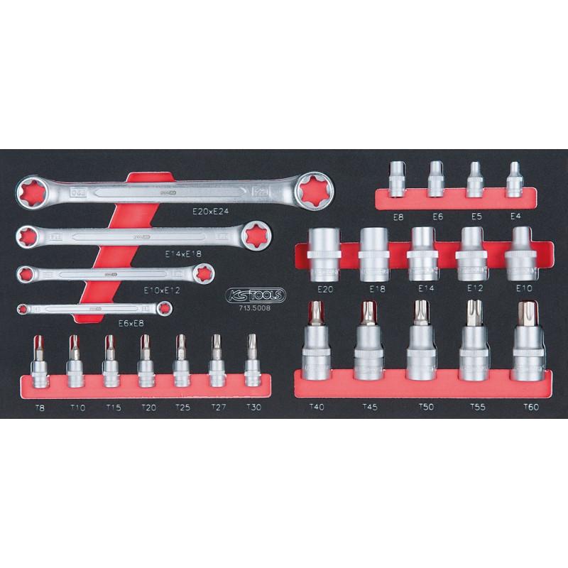 Module de douilles ULTIMATE et clés TORX 1/4 - 1/2, 25 pièces KS TOOLS