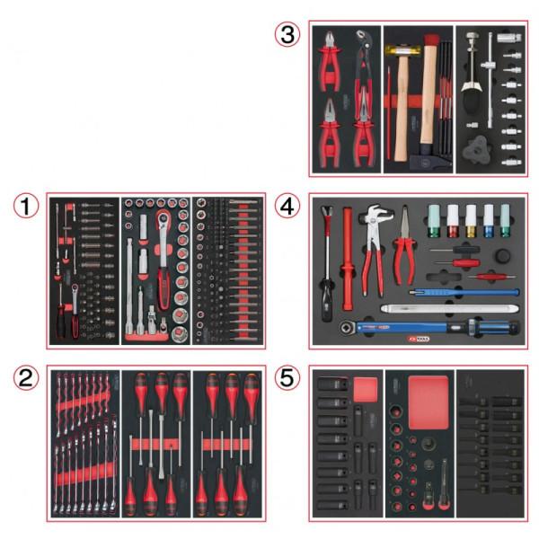 Composition d'outils de service rapide 5 tiroirs pour servante, 283 pièces KS TOOLS