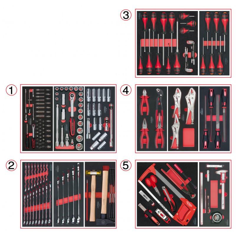 Composition d'outils 5 tiroirs pour servante, 187 pièces KS TOOLS