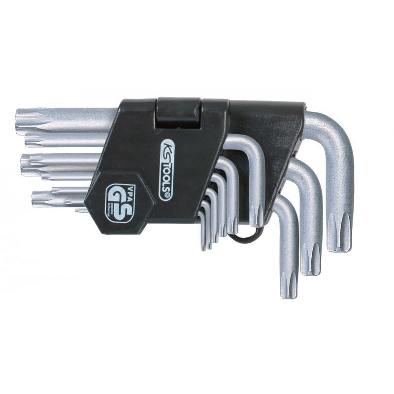 Jeu de clés mâles TORX percé courtes 9 pièces KS TOOLS