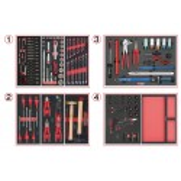 Composition d'outils 4 tiroirs pour servante, 238 pièces KS TOOLS