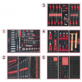 Composition d'outils 5 tiroirs pour servante, 384 pièces KS TOOLS