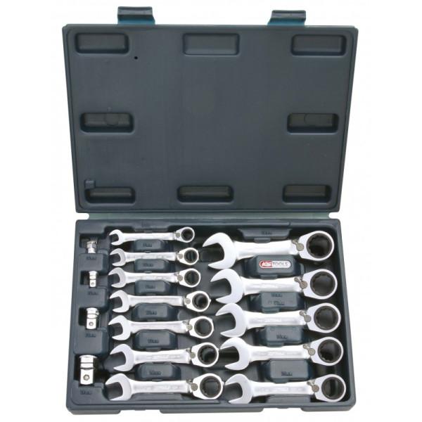 Coffret de 12 Mini-Clés mixtes à cliquet réversible GEARplus avec 4 adaptateurs KS TOOLS