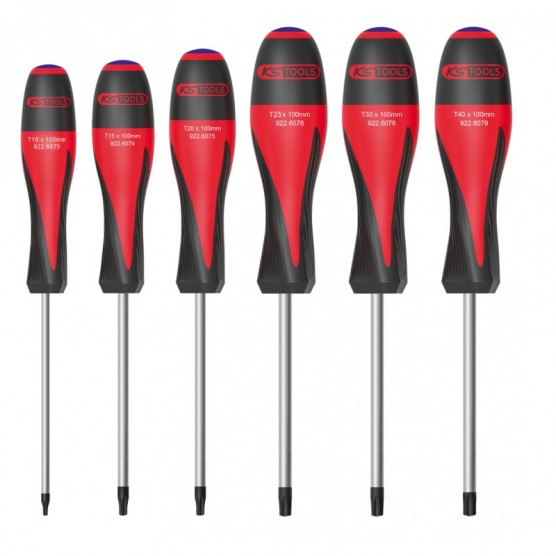 Boîte de 6 Tournevis ULTIMATE TORX Percé KS TOOLS