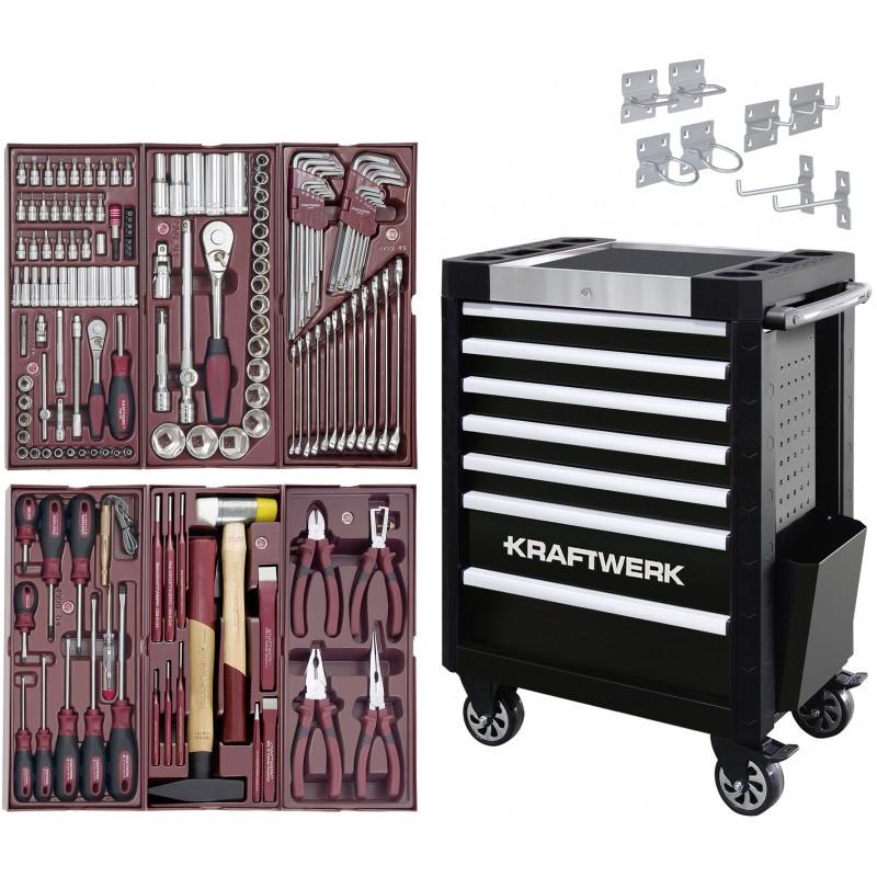 Servante d'atelier TRIO 7 tiroirs COMPLETO 150 outils KRAFTWERK