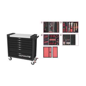 Servante ULTIMATE XL noire, 7 tiroirs équipée de 263 outilsKs Tools