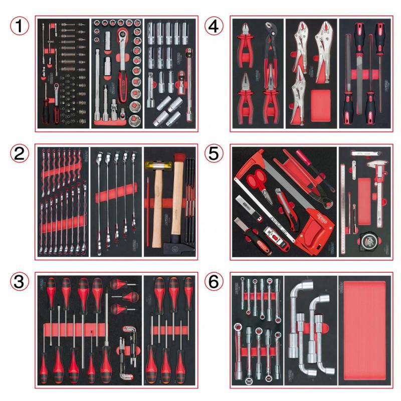 Composition d'outils 6 tiroirs pour servante, 202 pièces KS TOOLS