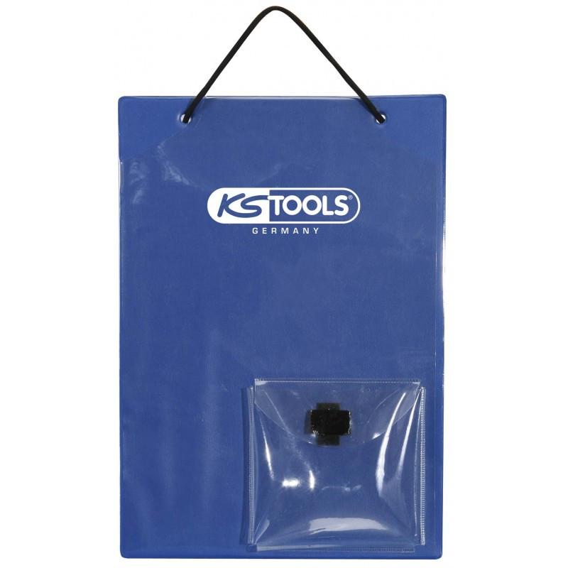 Tablettes de fiche de travaux A4 avec sacoche pour clés bleu KS TOOLS