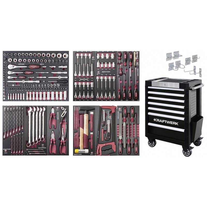 Servante d'atelier TRIO 7 tiroirs + composition d'outils COMPLETO EVA 236 pcs KRAFTWERK