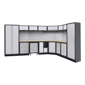 Mobilier d'atelier modulaire 8 éléments MOBILIO avec meuble d'angle bas KRAFTWERK