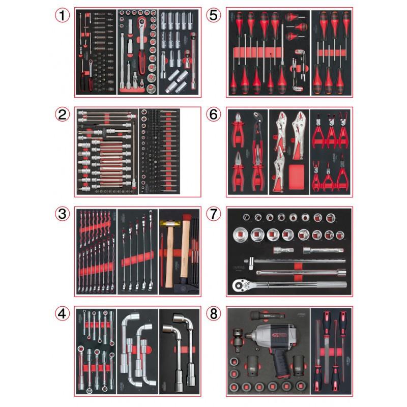 Composition d'outils PL 8 tiroirs pour servante, 354 pièces KS TOOLS