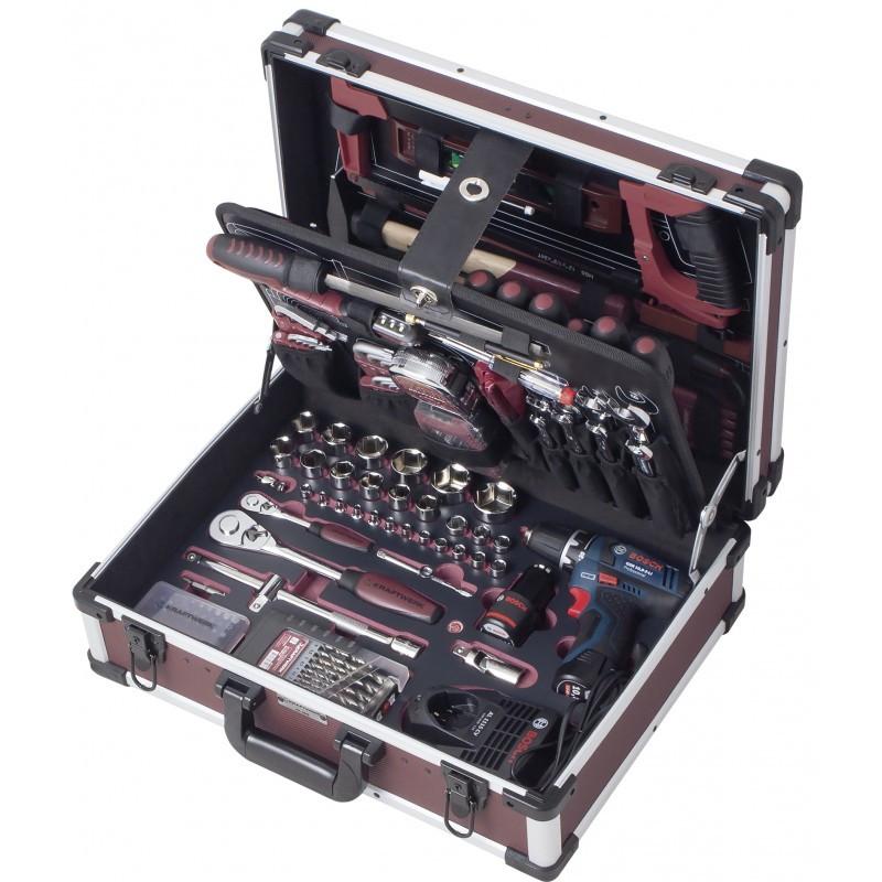 Coffret d'outils professionnels avec perceuse BOSCH 264 pièces KRAFTWERK