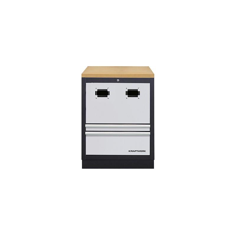 Meuble bas MOBILIO  pour enrouleur de câble et tuyau air comprimé avec 2 tiroirs KRAFTWERK