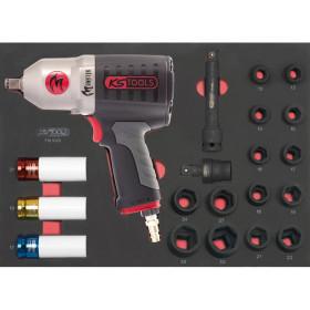 Module de douilles et clé à chocs pneumatique 1/2'', 20 pièces KS TOOLS
