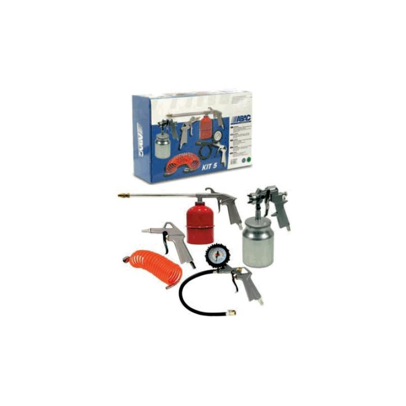Kit 5 Pièces pour Compresseur d'air: Soufflette, Gonfleur, Tuyau spiralé, Pistolet de peinture et Pulvérisateur ABAC