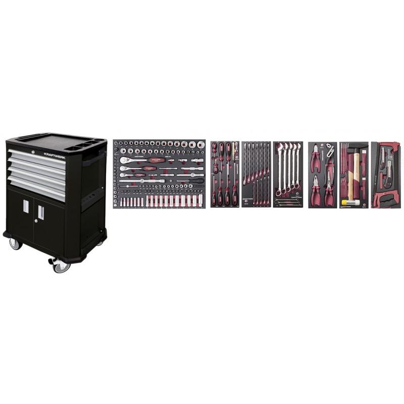 Servante d'atelier  avec double porte + 4 tiroirs + composition completo EVA3 189 outils KRAFTWERK