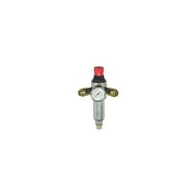 """Réducteur de pression réglable avec manomètre 3/8"""" M double sortie ABAC"""