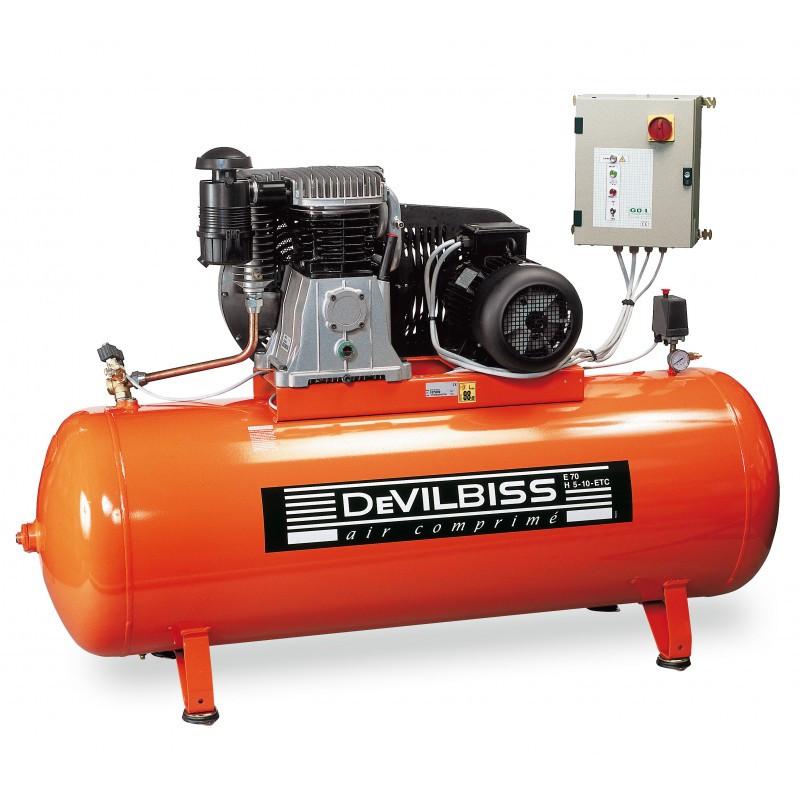 Compresseur d'air à piston 10 Cv 500L bi etages DEVILBISS