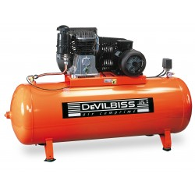 COMPRESSEUR PISTON Bi-Etagé 400V 7,5 CV Cylindre en fonte Réservoir 500 Litres DEVILBISS