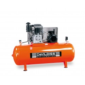 COMPRESSEUR PISTON Marche lente Bi-Etagé 400V 10 Cv Cylindre en fonte 500L DEVILBISS