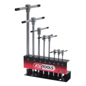Jeux de clés mâles 6 pans à poignées en T 8 pièces KS TOOLS