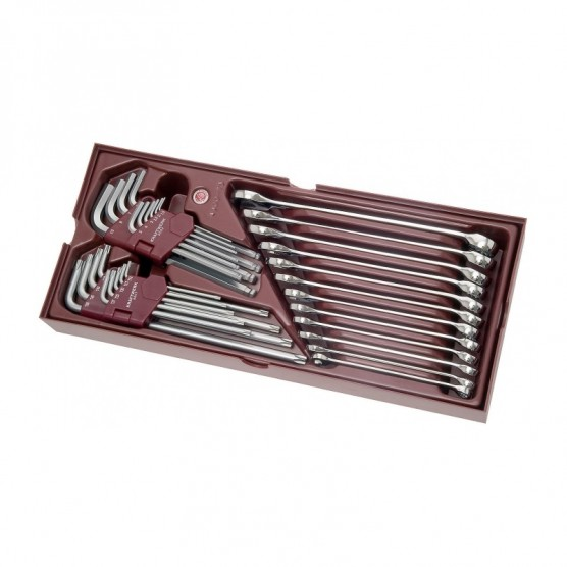 Coquille 31 pièces de clés Mixtes + 6 Pans mâles et Torx mâles COMPLETO KRAFTWERK
