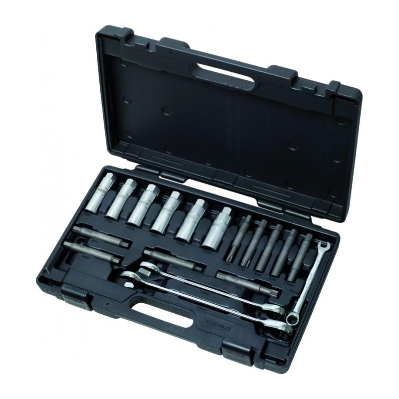 Coffret 18 pièces pour le montage et démontage des tiges d'amortisseurs KS TOOLS