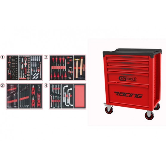 Servante 5 Tiroirs RACING  EDITION + Composition 173 outils KS TOOLS