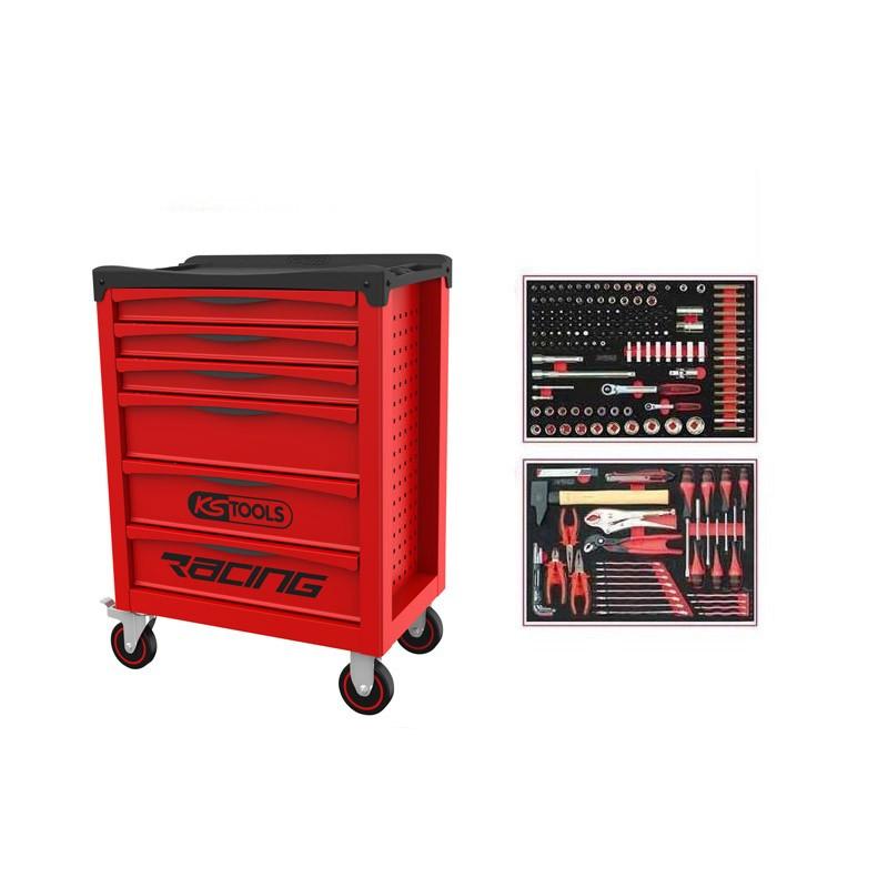 Servante RACING 6 tiroirs équipée de 184 outils KS TOOLS