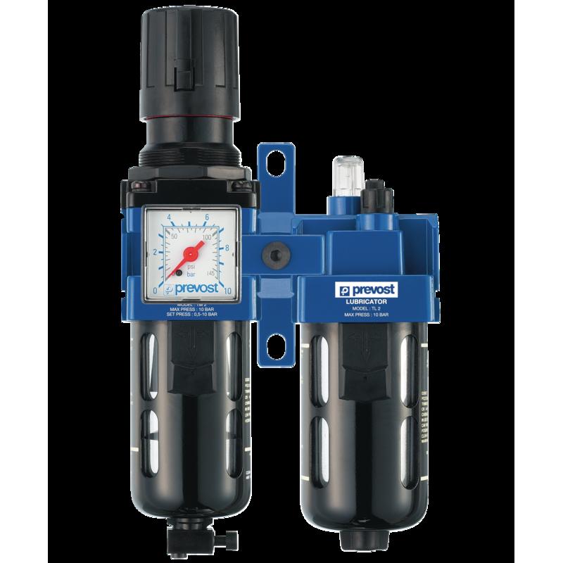 ALTO 2 - Filtre régulateur lubrificateur 2 blocs avec manomètre et fixation