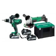 Kit Perceuse - visseuse 18 V 5.0Ah 92Nm + Meuleuse 18 V 125mm + 3 batteries 5.0 Ah et chargeur en coffret HIKOKI Planet Tools