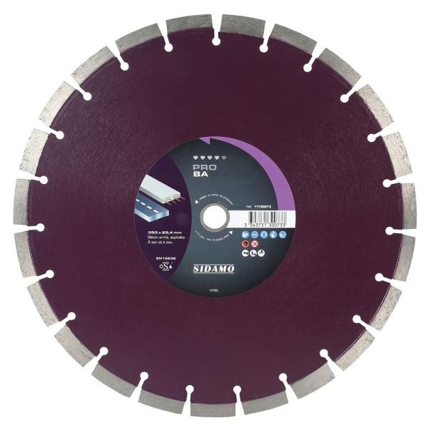 Disque diamant PRO BA 350 mm Béton / Asphalte SIDAMO