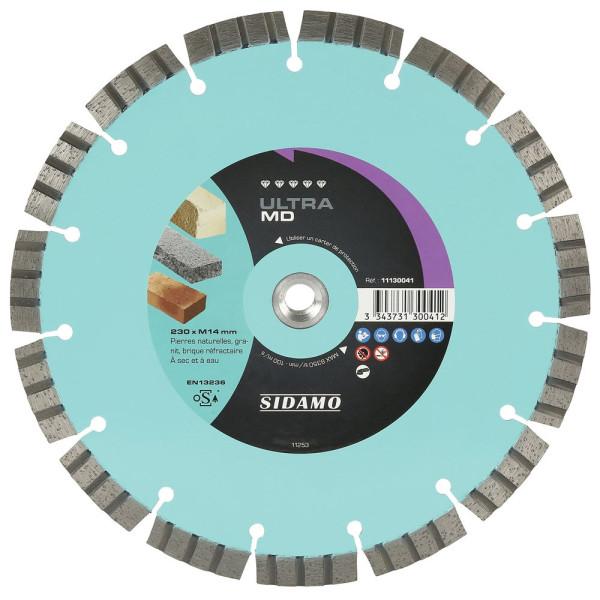 Disque Diamant et Carbure à segment ULTRA MD 230mm Tronçonnage matériaux durs SIDAMO