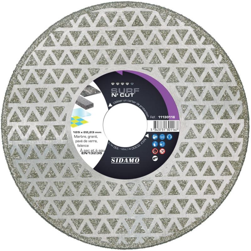 Disque Diamant et Carbure à segment 125 mm SURF N'CUT alésage 22,23 SIDAMO
