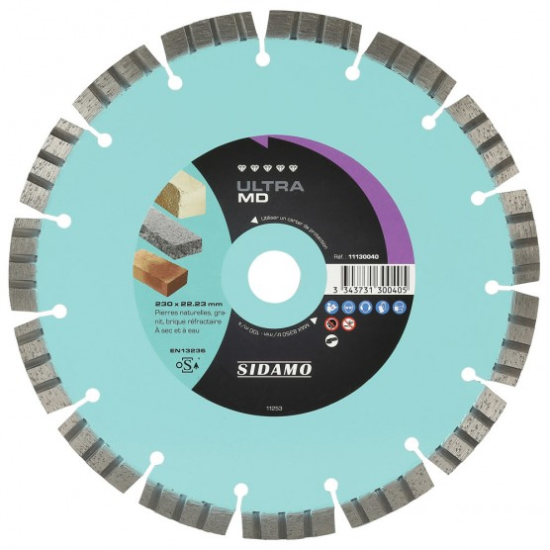 Disque Diamant et Carbure à segment ULTRA MD 230 mm Tronçonnage matériaux durs SIDAMO