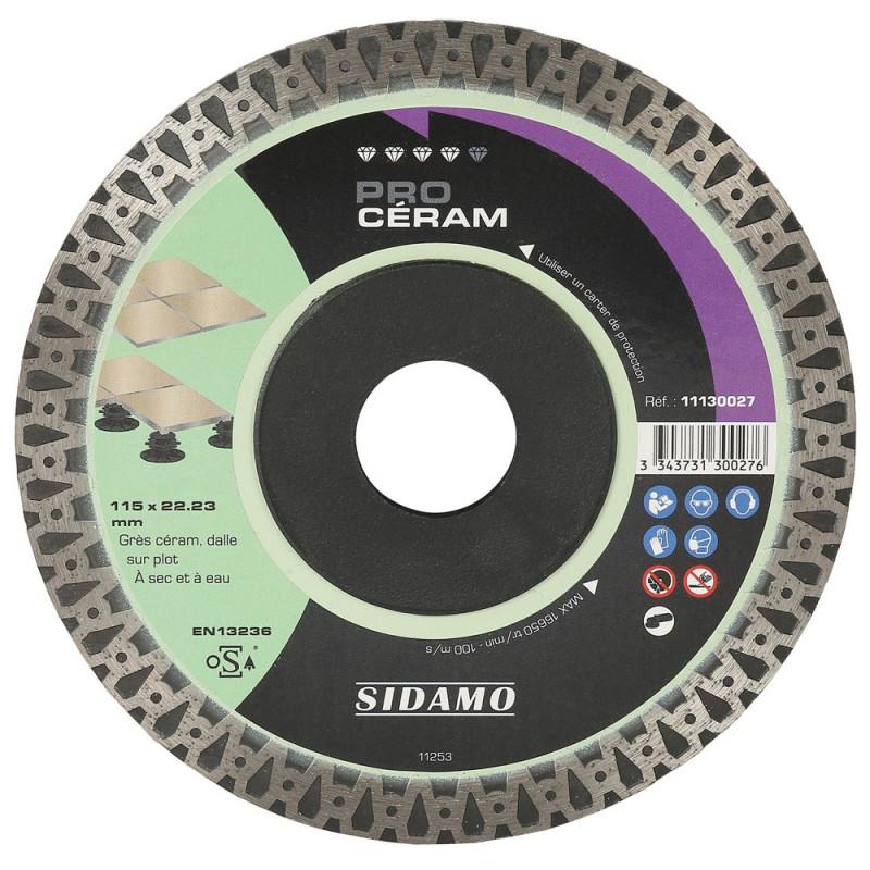 Disque Diamant et Carbure à couronne continue 115 mm PRO CERAM SIDAMO