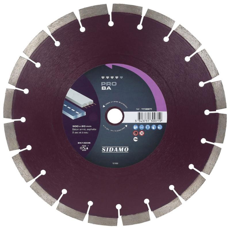 Disque diamant PRO BA 300 mm Béton / Asphalte SIDAMO