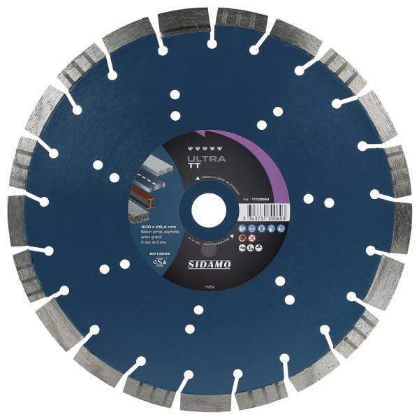 Disque Diamant à segment ULTRA TT 300 mm Tronçonnage béton/Asphalte/Acier/Granit SIDAMO