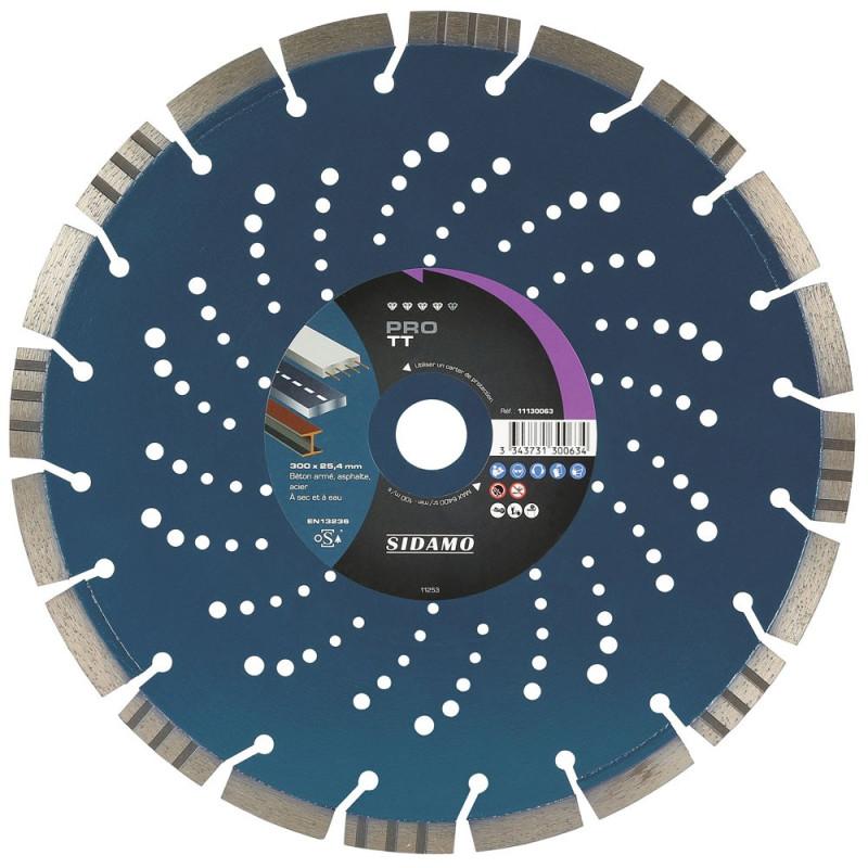 Disque Diamant à segment PRO TT 300 mm Tronçonnage béton/Asphalte/Acier SIDAMO