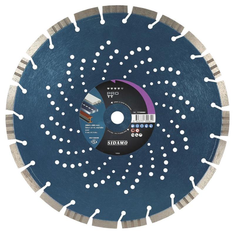 Disque Diamant à segment PRO TT 350 mm Tronçonnage béton/Asphalte/Acier SIDAMO