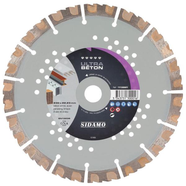Disque Diamant à segment 230 mm ULTRA BETON Tronçonnage béton/Acier SIDAMO
