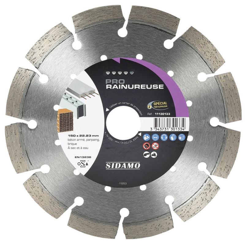 Disque Diamant à segment 150 mm PRO RAINUREUSE Tronçonnage béton SIDAMO