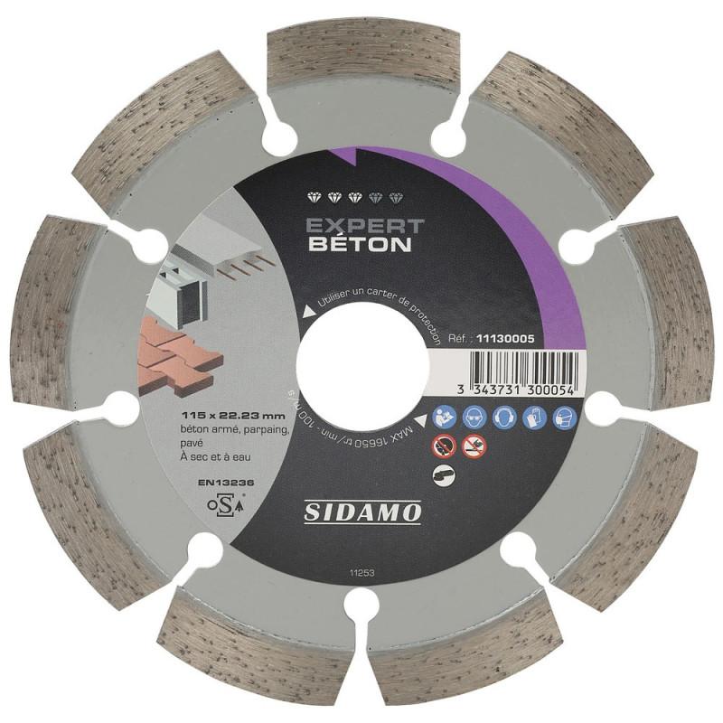 Disque Diamant à segment 115 mm EXPERT BETON Tronçonnage béton SIDAMO