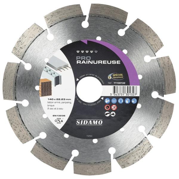 Disque Diamant à segment 140 mm PRO RAINUREUSE Tronçonnage béton SIDAMO
