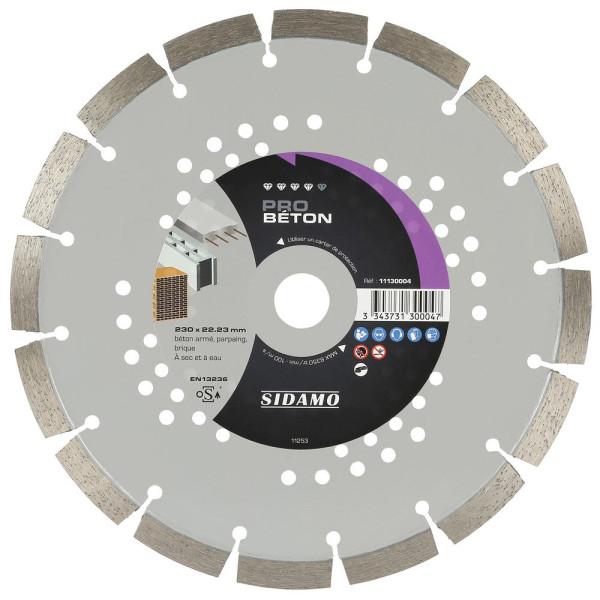 Disque Diamant à segment 230 mm PRO BETON Tronçonnage béton SIDAMO